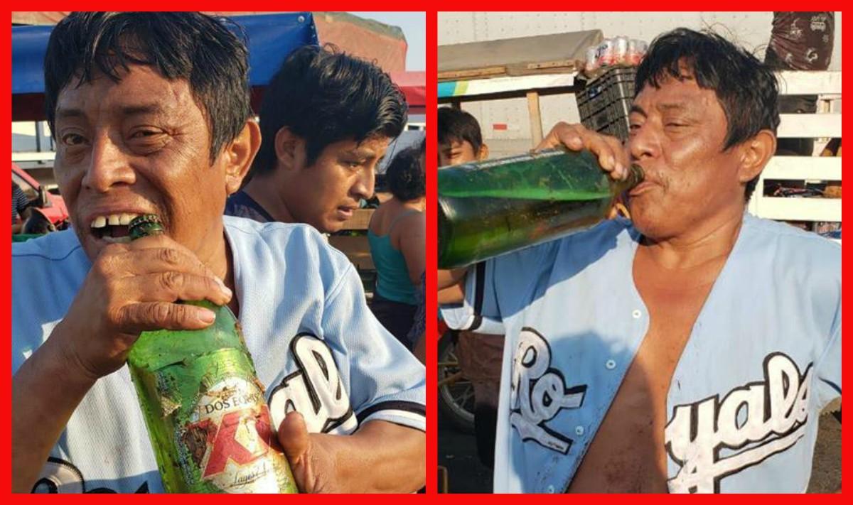 Volcadura de tráiler con cerveza termina en 'fiesta'