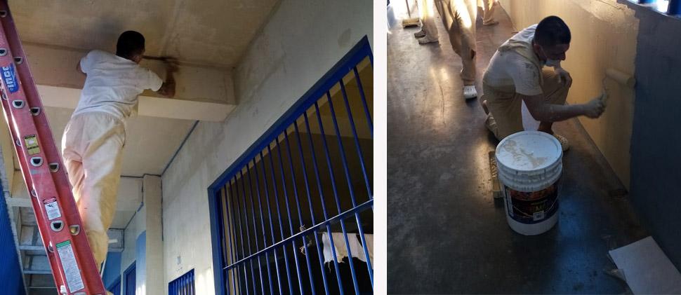 Internos del Complejo de Izalco borran grafitis de dicho centro penitenciario - Diario Digital Cronio de El Salvador