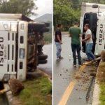 Conductor pierde el control y vuelca camión en la carretera de Sonsonate hacia San Salvador